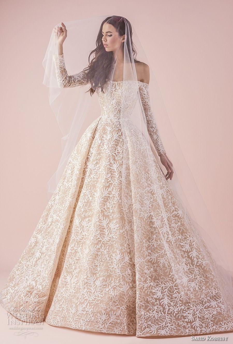 saiid kobeisy 2018 bridal long sleeves straight across full embellishment romantic princess blush color ball gown wedding dress chapel train (3261) mv