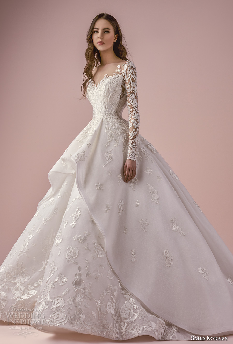saiid kobeisy 2018 bridal long sleeves v neck heavily embellished bodice romantic princess layered skirt ball gown wedding dress chapel train (3265) mv