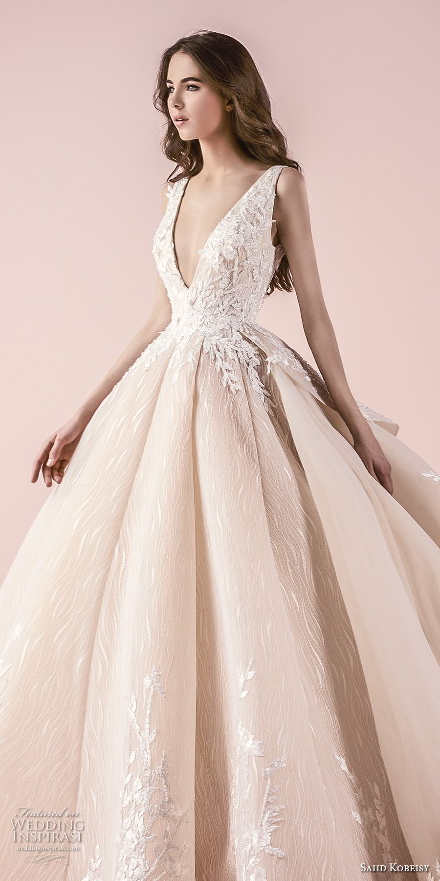 saiid kobeisy 2018 bridal sleeveless deep v neck heavily embellished bodice romanitc princess blush color ball gown wedding dress (3258) zv