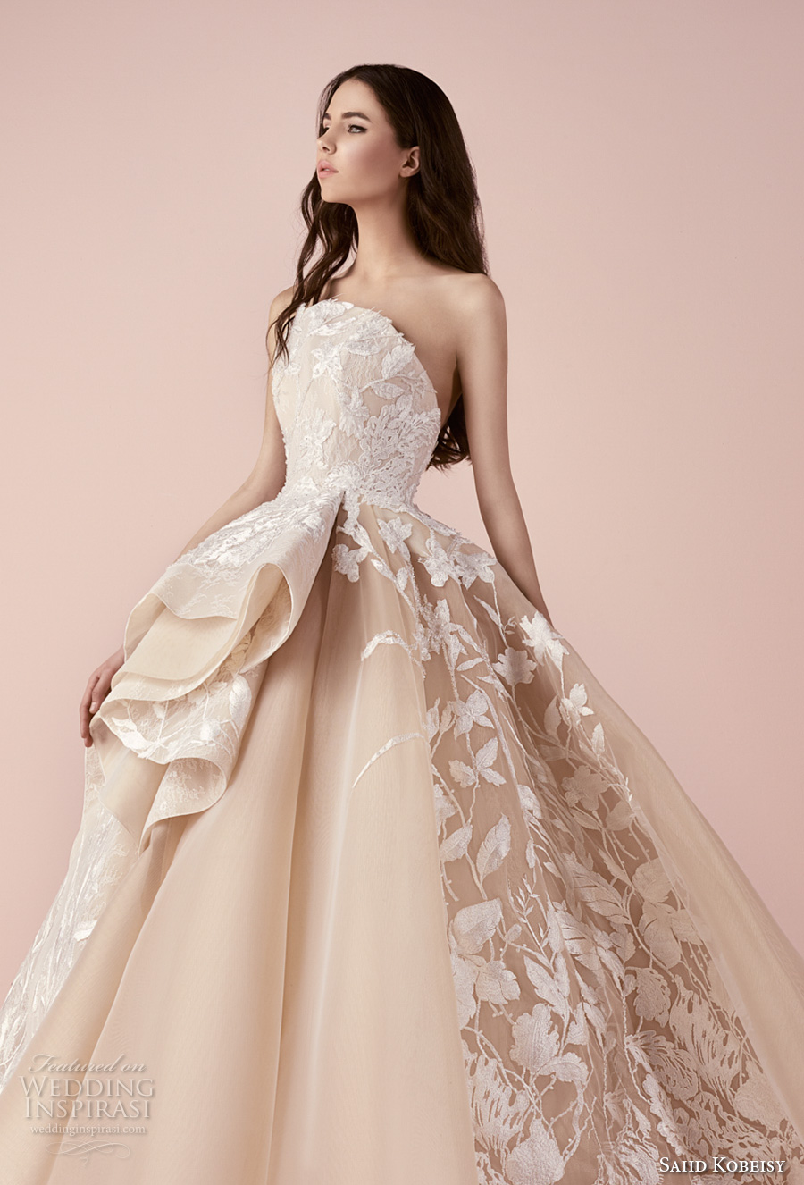saiid kobeisy 2018 bridal strapless heavily embellished bodice romantic princess blush color ball gown wedding dress (3263) zv
