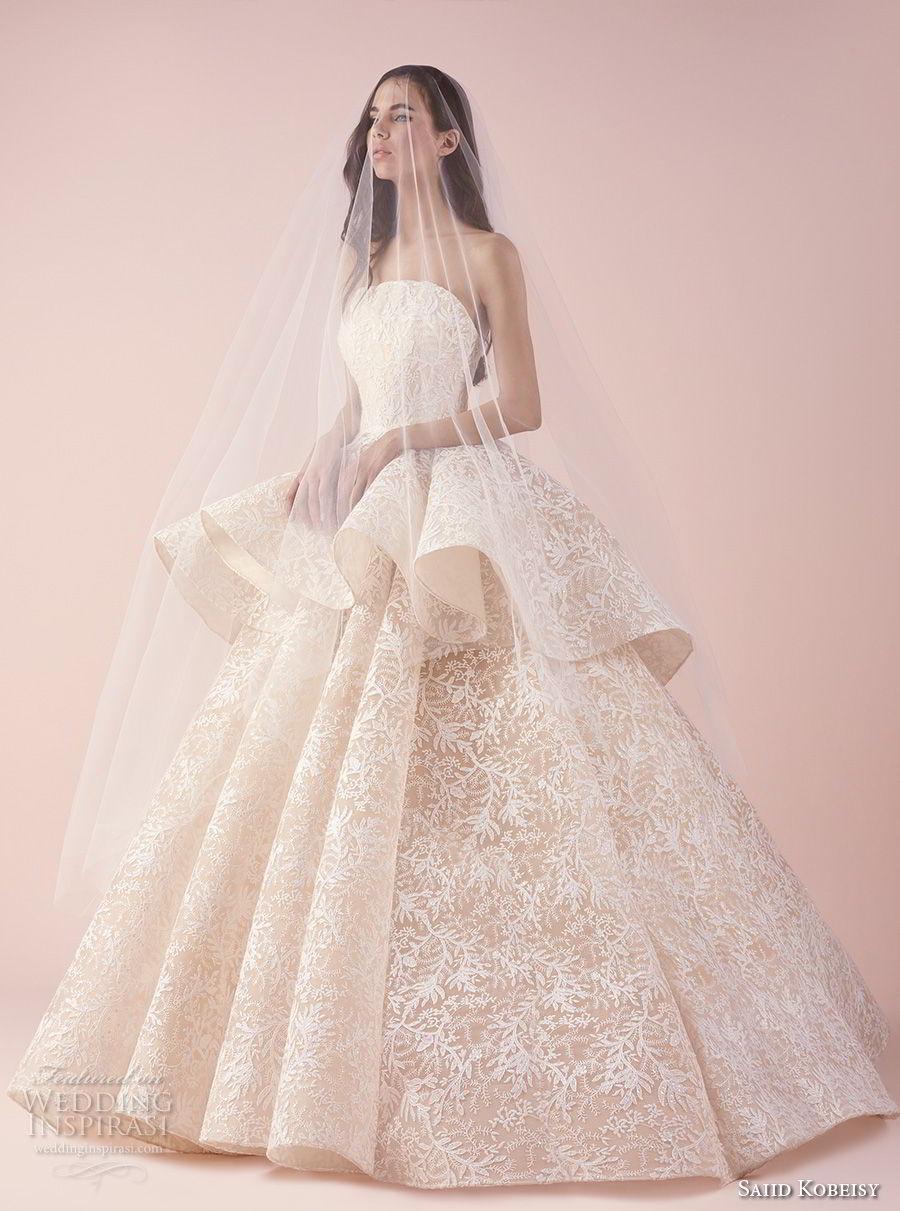 saiid kobeisy 2018 bridal strapless straight across neckline full embellishment peplum romantic princess blush color ball gown wedding dress (3262) mv