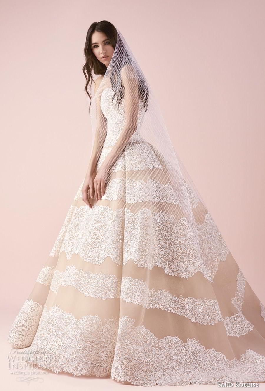saiid kobeisy 2018 bridal strapless straight across neckline full embellishment romantic princess ball gown wedding dress sweep train (3256) mv