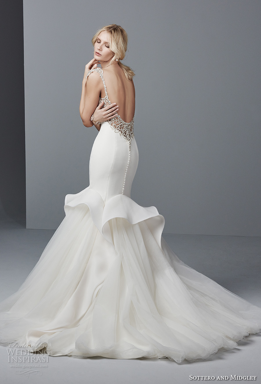 sottero midgley fall 2017 cap sleeves boat neckline simple clean peplum mermaid wedding dress open back chapel train (952) bv