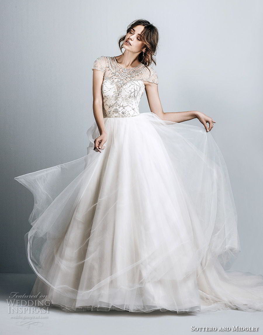 sottero midgley fall 2017 cap sleeves illusion jewel sweetheart neckline heavily embellished beaded bodice tulle flowy skirt romantic a line wedding dress keyhole back chapel train (948) mv