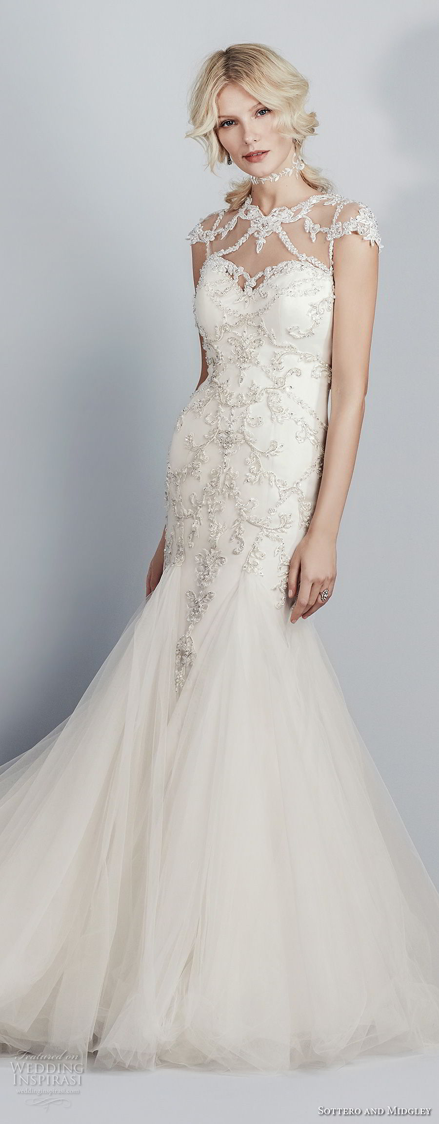 sottero midgley fall 2017 cap sleeves illusion jewel sweetheart neckline heavily embellished beaded bodice tulle skirt elegant mermaid wedding dress sheer lace back chapel train (602) mv