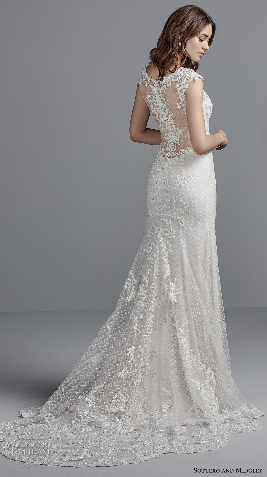 sottero midgley fall 2017 cap sleeves sweetheart neckline heavily embellished bodice elegant modified a line wedding dress illusion lace back short train (989) bv