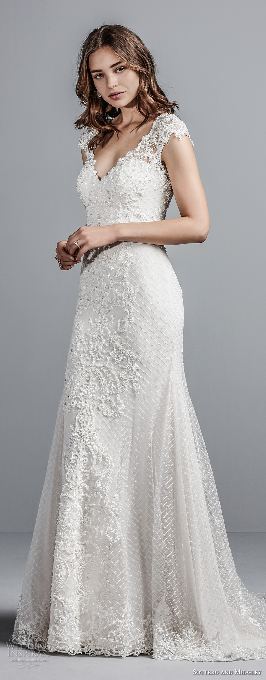 sottero midgley fall 2017 cap sleeves sweetheart neckline heavily embellished bodice elegant modified a line wedding dress illusion lace back short train (989) mv