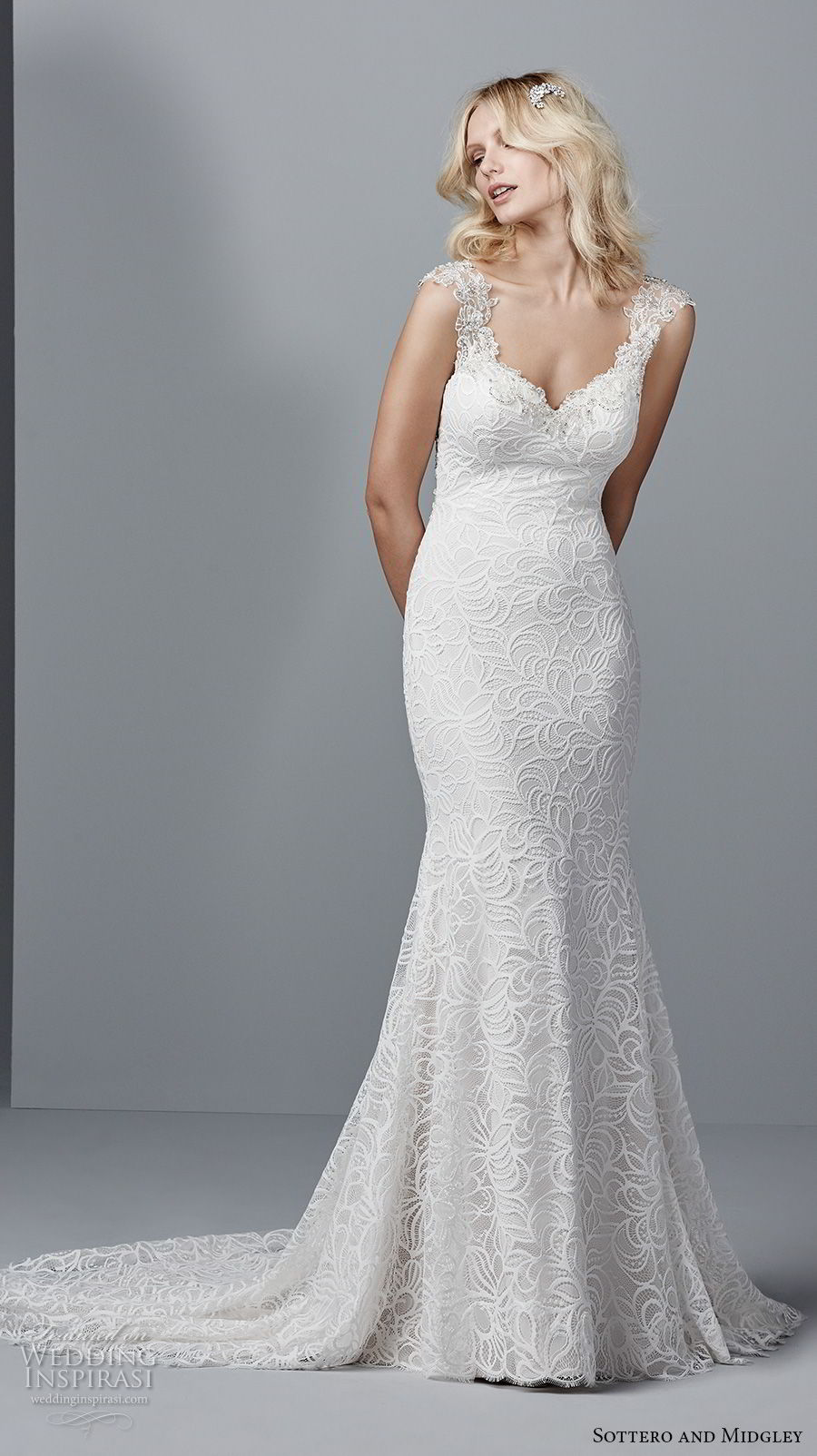sottero midgley fall 2017 cap sleeves thick strap sweetheart neckline full embellishment elegant fit and flare wedding dress illusion lace back medium train (958) mv