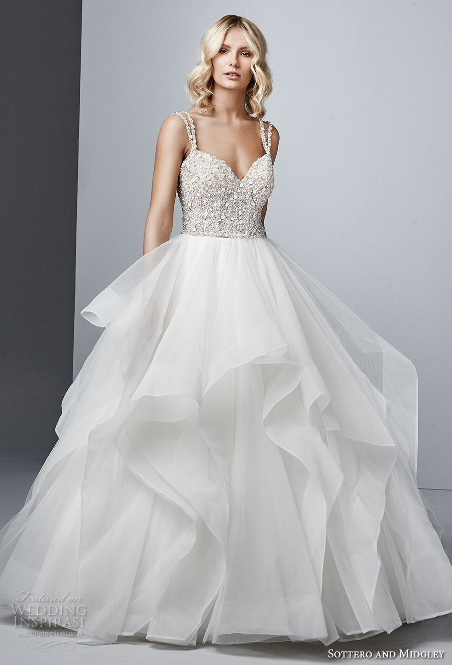 sottero midgley fall 2017 double strap sweetheart neckline heavily embellished beaded bodice layered skirt princess glamorous ball gown wedding dress open strap back chapel train (604) mv