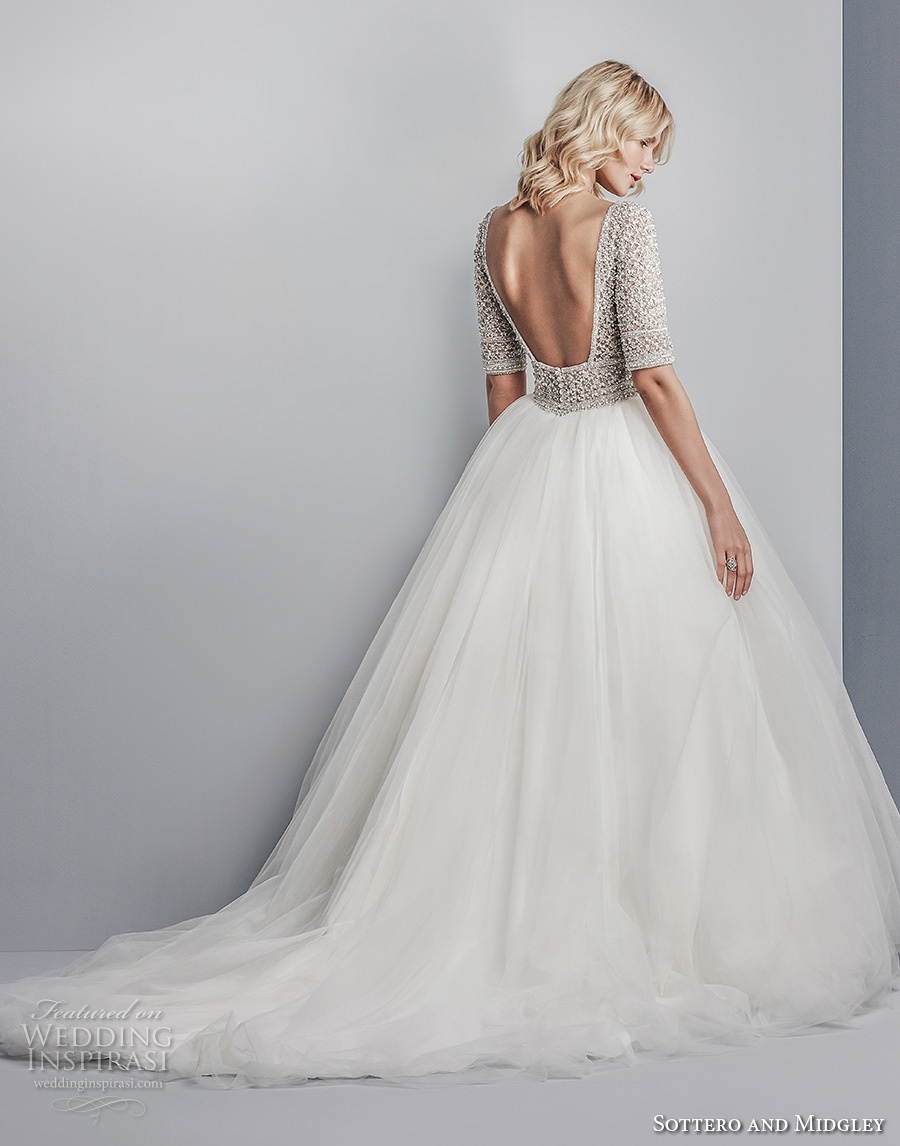 sottero midgley fall 2017 half sleeves bateau neck heavily embellished beaded bodice tulle skirt romantic glamorous a line wedding dress open square back chapel train (611) bv