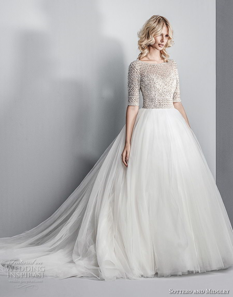 sottero midgley fall 2017 half sleeves bateau neck heavily embellished beaded bodice tulle skirt romantic glamorous a line wedding dress open square back chapel train (611) mv
