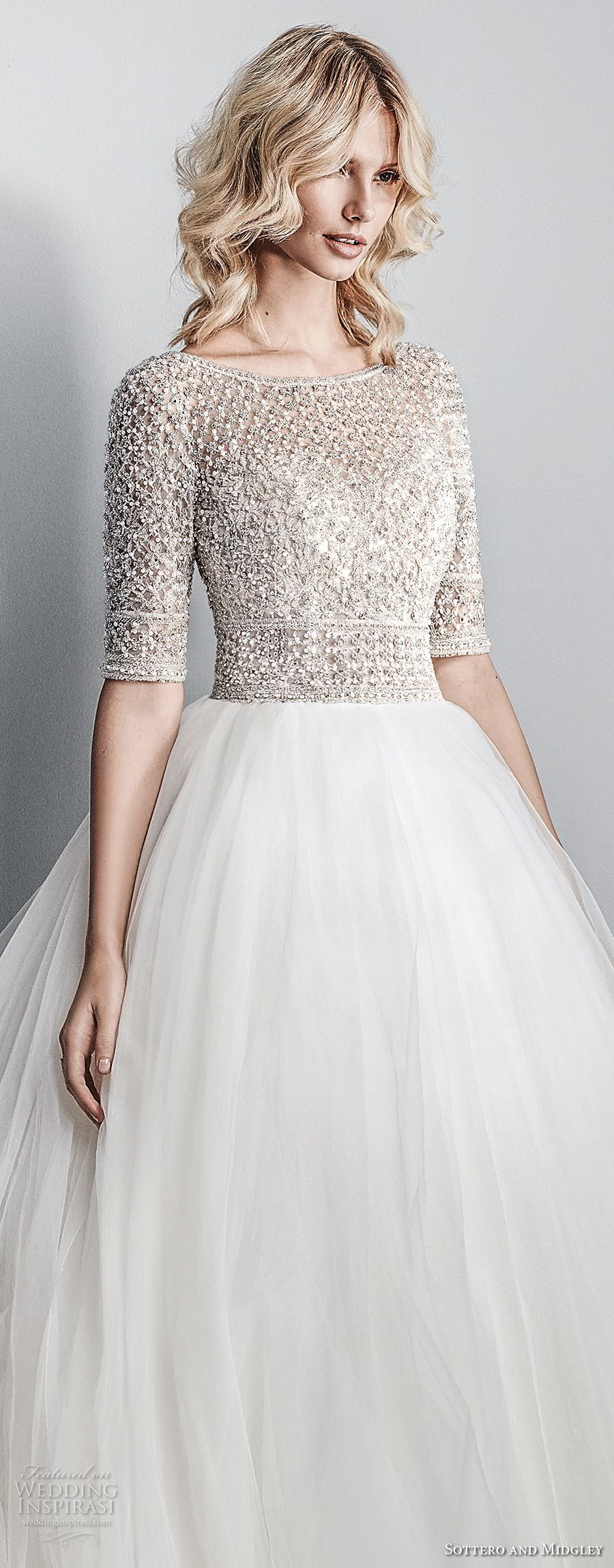 sottero midgley fall 2017 half sleeves bateau neck heavily embellished beaded bodice tulle skirt romantic glamorous a line wedding dress open square back chapel train (611) zv