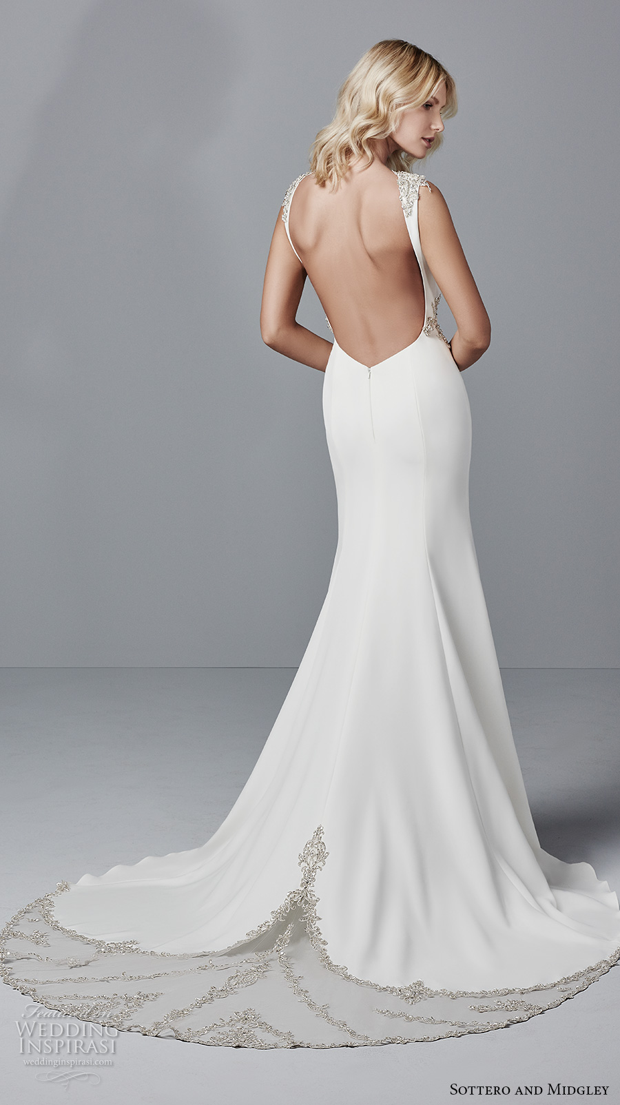 sottero midgley fall 2017 sleeveless bateau neckline simple clean classic fit and flare wedding dress open back chapel train (967) bv