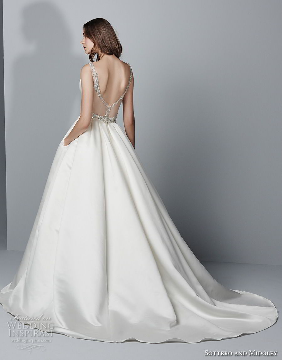sottero midgley fall 2017 sleeveless strap deep sweetheart neckline simple clean elegant a line wedding dress with pockets open back chapel train (949) bv