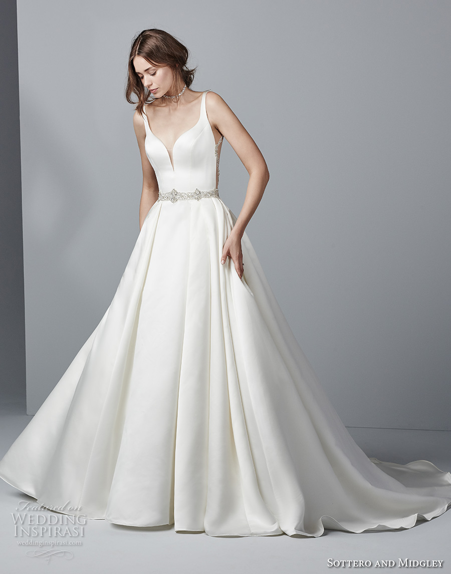 sottero midgley fall 2017 sleeveless strap deep sweetheart neckline simple clean elegant a line wedding dress with pockets open back chapel train (949) mv