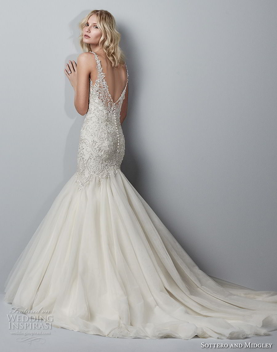 sottero midgley fall 2017 sleeveless strap v neck heavily embellished beaded bodice elegant mermaid wedding dress open v back chapel train (956) bv