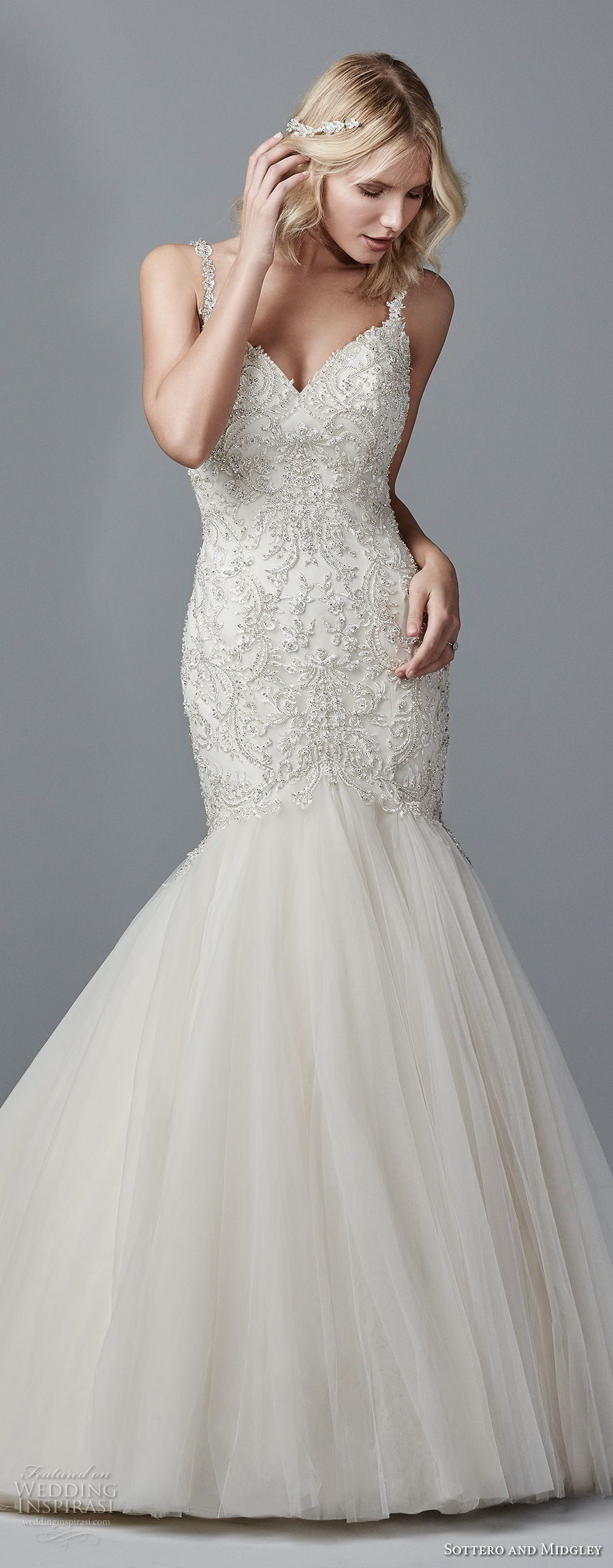 sottero midgley fall 2017 sleeveless strap v neck heavily embellished beaded bodice elegant mermaid wedding dress open v back chapel train (956) mv