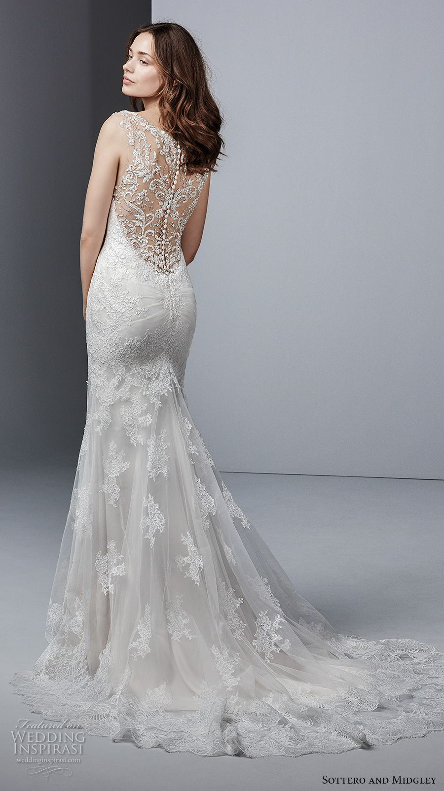 sottero midgley fall 2017 sleeveless thick strap v neck full embellished bodice elegant fit and flare wedding dress covered lace back chapel train (962) bv