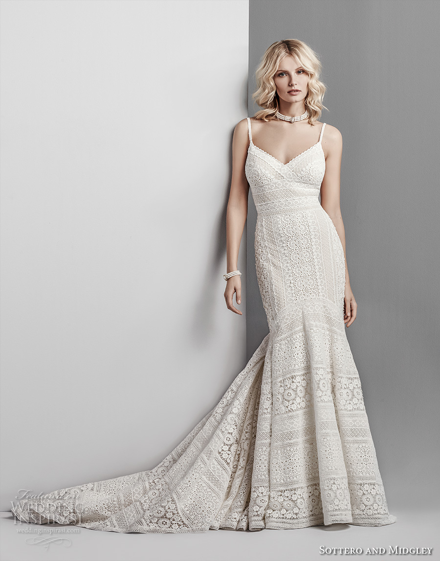 sottero midgley fall 2017 spaghetti strap v neck full embellishment romantic elegant lace mermaid wedding dress open v back chapel train (605) mv