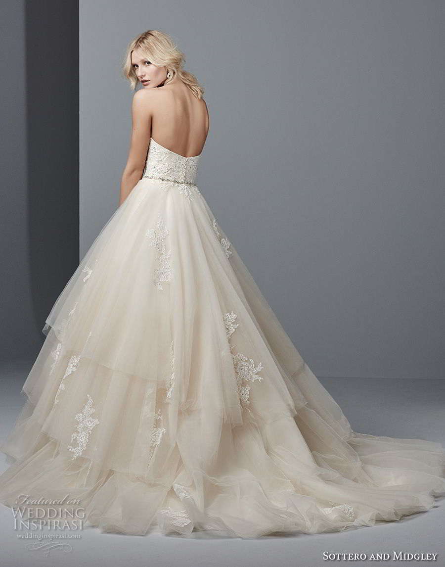 sottero midgley fall 2017 strapless semi sweetheart neckline heavily embellished bodice layered skirt princess a line wedding dress chapel train (979) bv