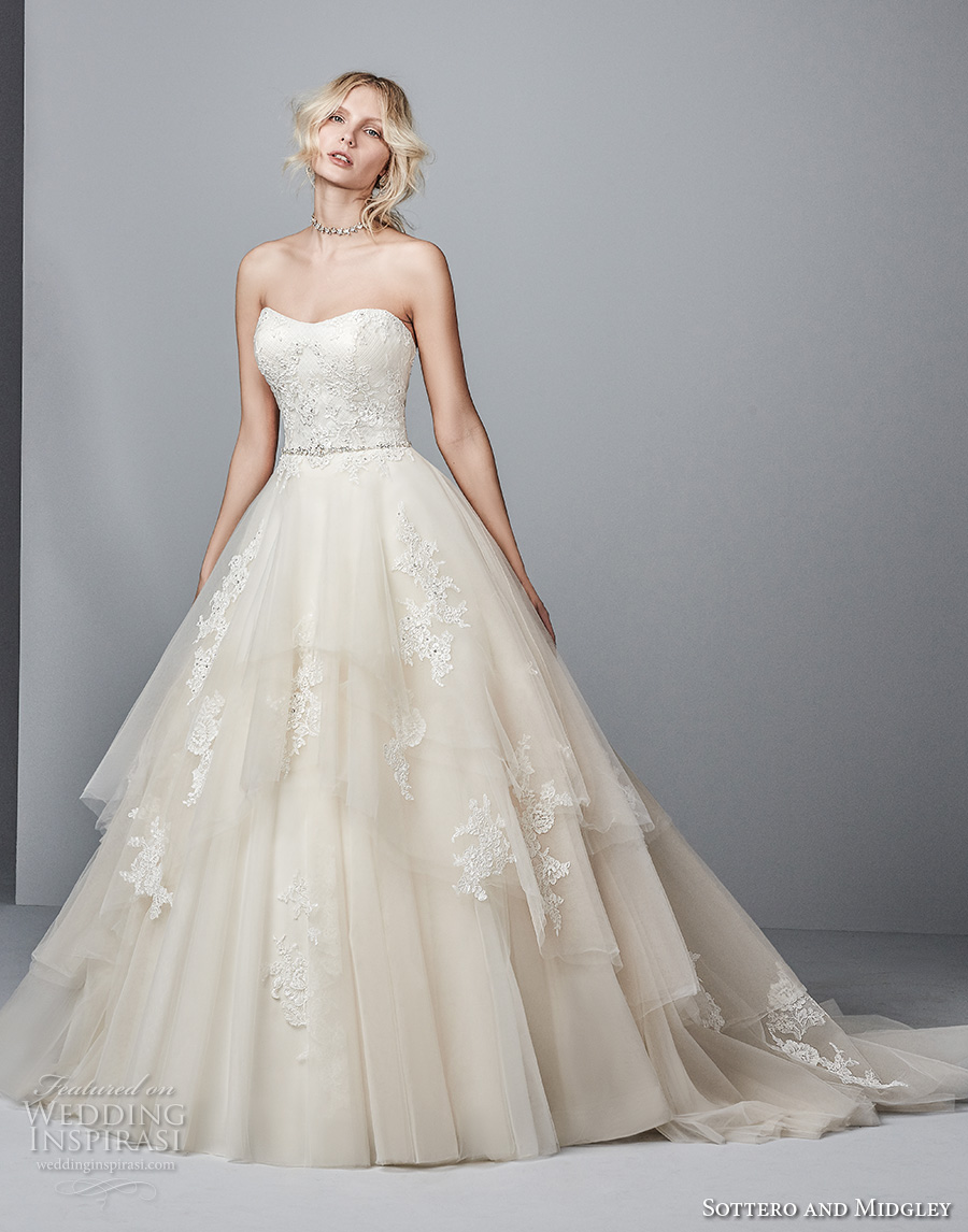 sottero midgley fall 2017 strapless semi sweetheart neckline heavily embellished bodice layered skirt princess a line wedding dress chapel train (979) mv