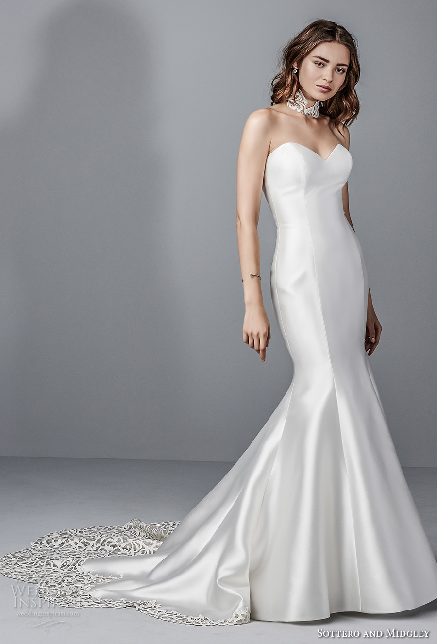 sottero midgley fall 2017 strapless sweetheart neckline simple clean satin elegant classic mermaid wedding dress chapel train (988) mv