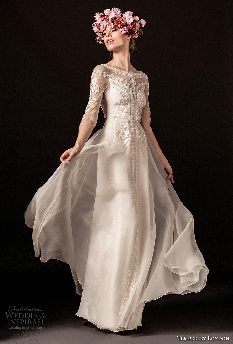 temperley london spring 2018 half sleeves illusion bateau sweetheart neckline heavily embellished elegant romantic sheath wedding dress (zaida) mv