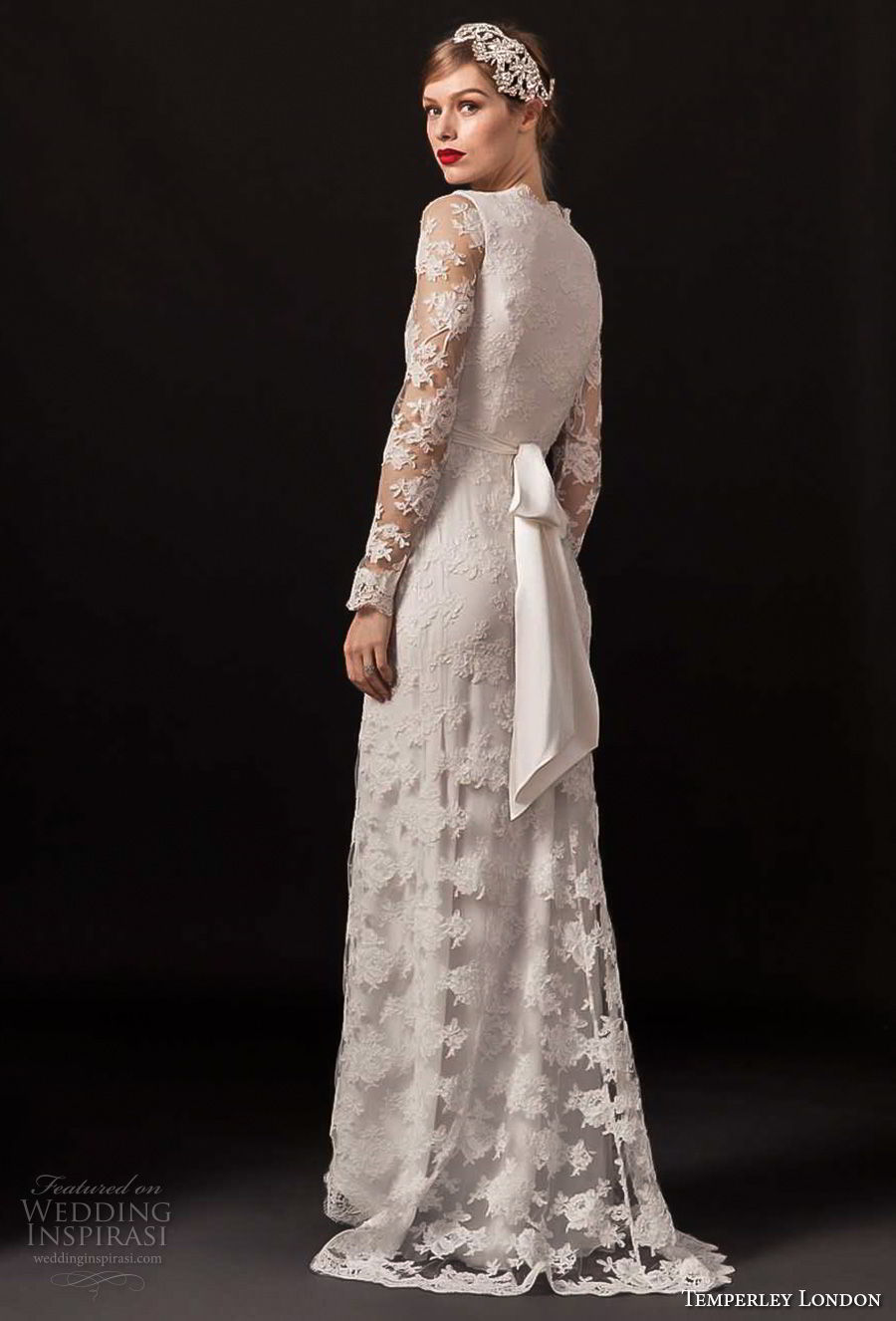 temperley london spring 2018 long sleeves v neck full lace embellishment elegant modified a line wedding dress covered back sweep train (monica) bv