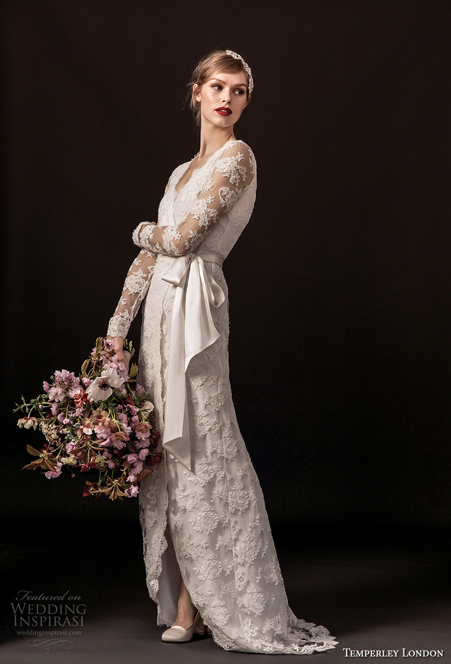 temperley london spring 2018 long sleeves v neck full lace embellishment elegant modified a line wedding dress covered back sweep train (monica) mv