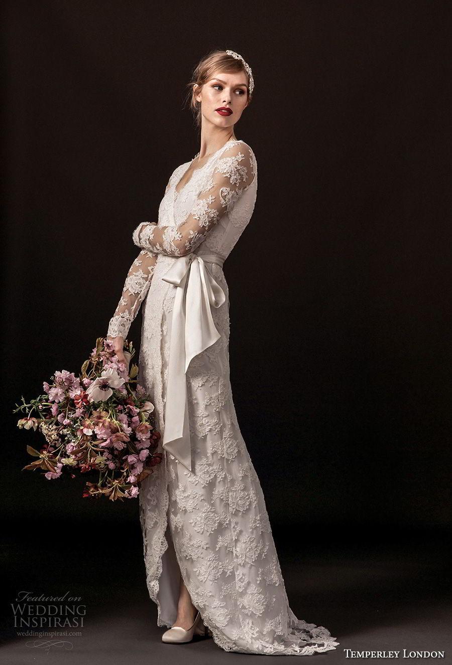 temperley london spring 2018 long sleeves v neck full lace embellishment elegant modified a  line wedding dress covered back sweep train (monica) mv