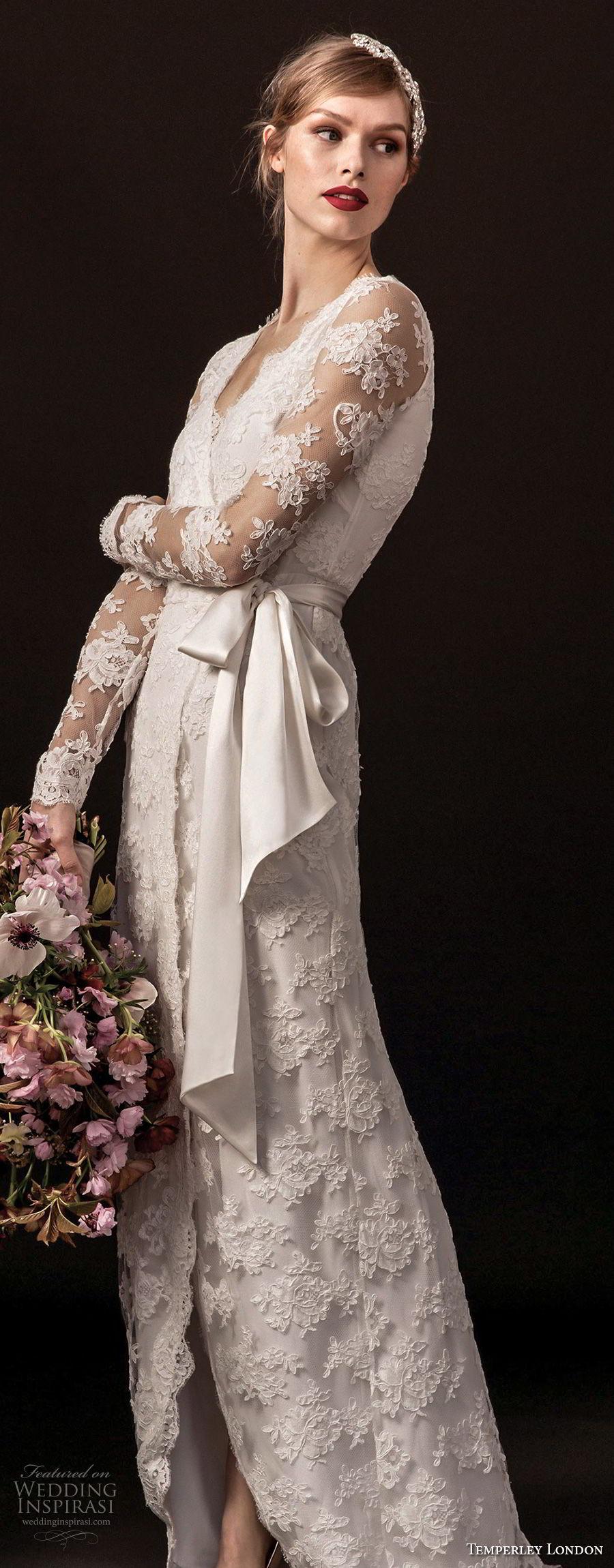 temperley london spring 2018 long sleeves v neck full lace embellishment elegant modified a  line wedding dress covered back sweep train (monica) zv