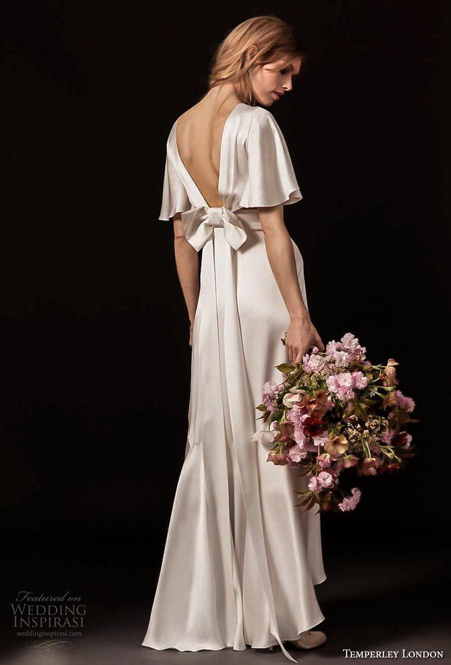 temperley london spring 2018 short bell sleeves deep v neck simple clean retro a  line wedding dress (lydie) bv