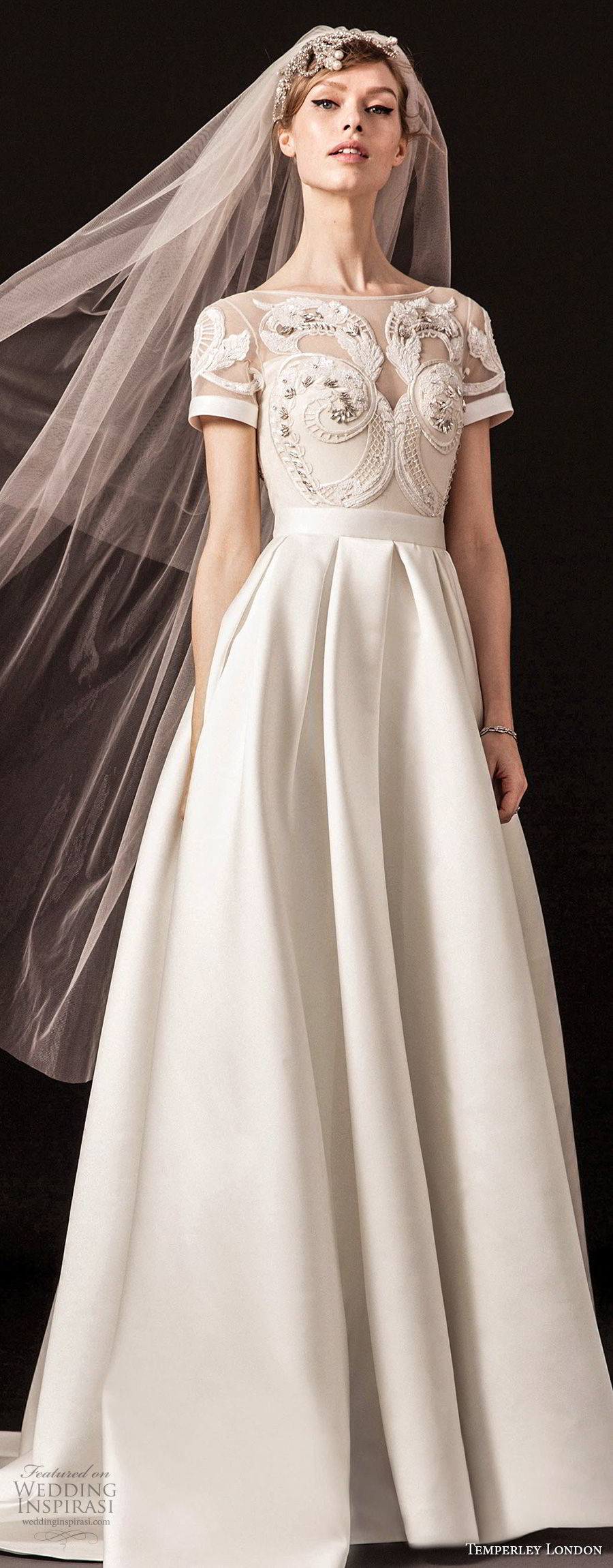temperley london spring 2018 short sleeves illusion bateau sweetheart neckline heavily embellished bodice elegant a line wedding dress chapel train (emmie) zv