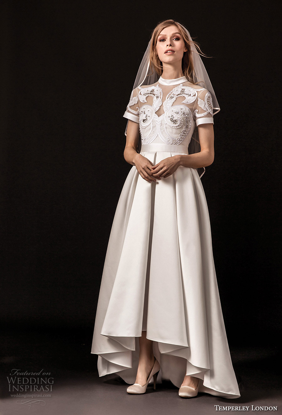 temperley london spring 2018 short sleeves illusion jewel sweetheart neckline heavily embellished romantic a  line wedding dress covered lace back sweep train (virginie) mv