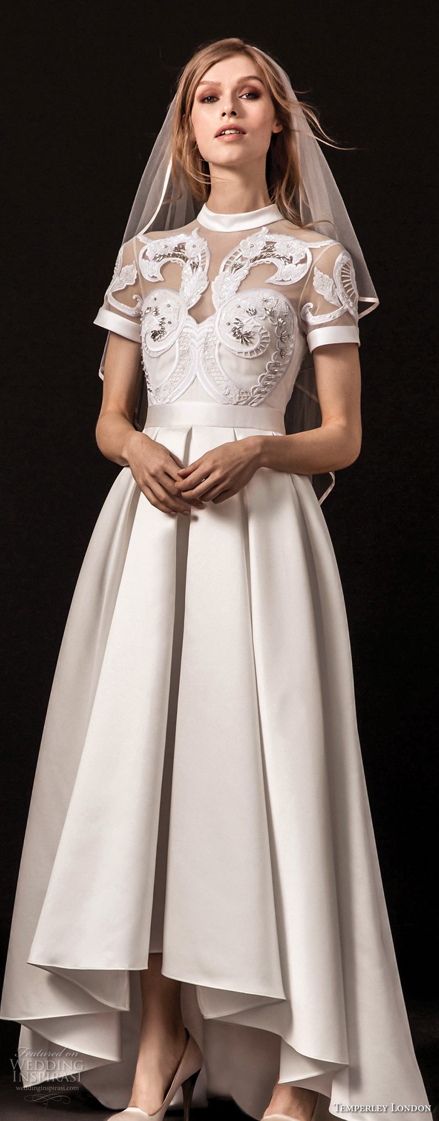 temperley london spring 2018 short sleeves illusion jewel sweetheart neckline heavily embellished romantic a  line wedding dress covered lace back sweep train (virginie) zv