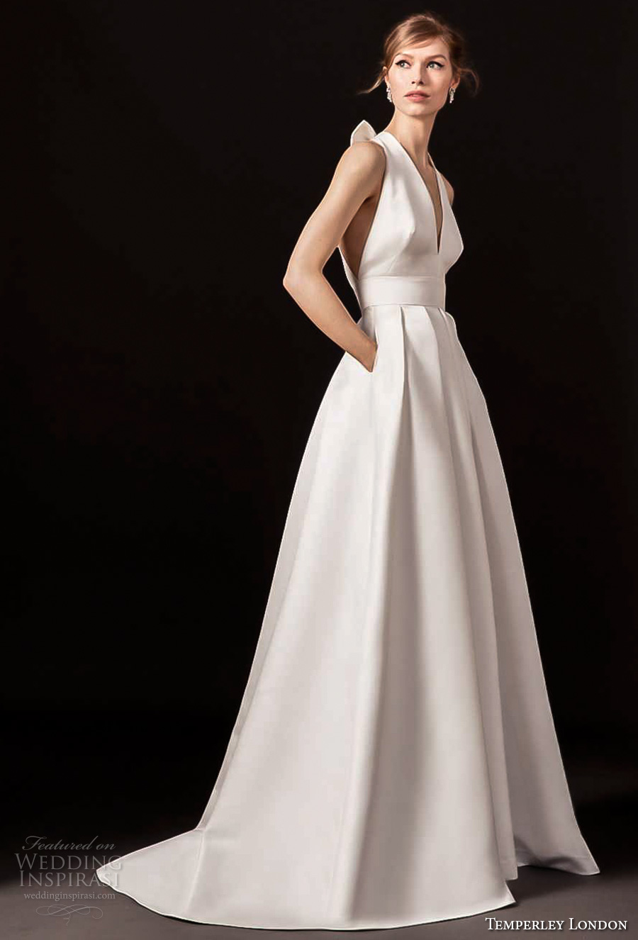 temperley london spring 2018 sleeveless halter v neck simple clean a line wedding dress with pockets strap back sweep train (octavia) mv