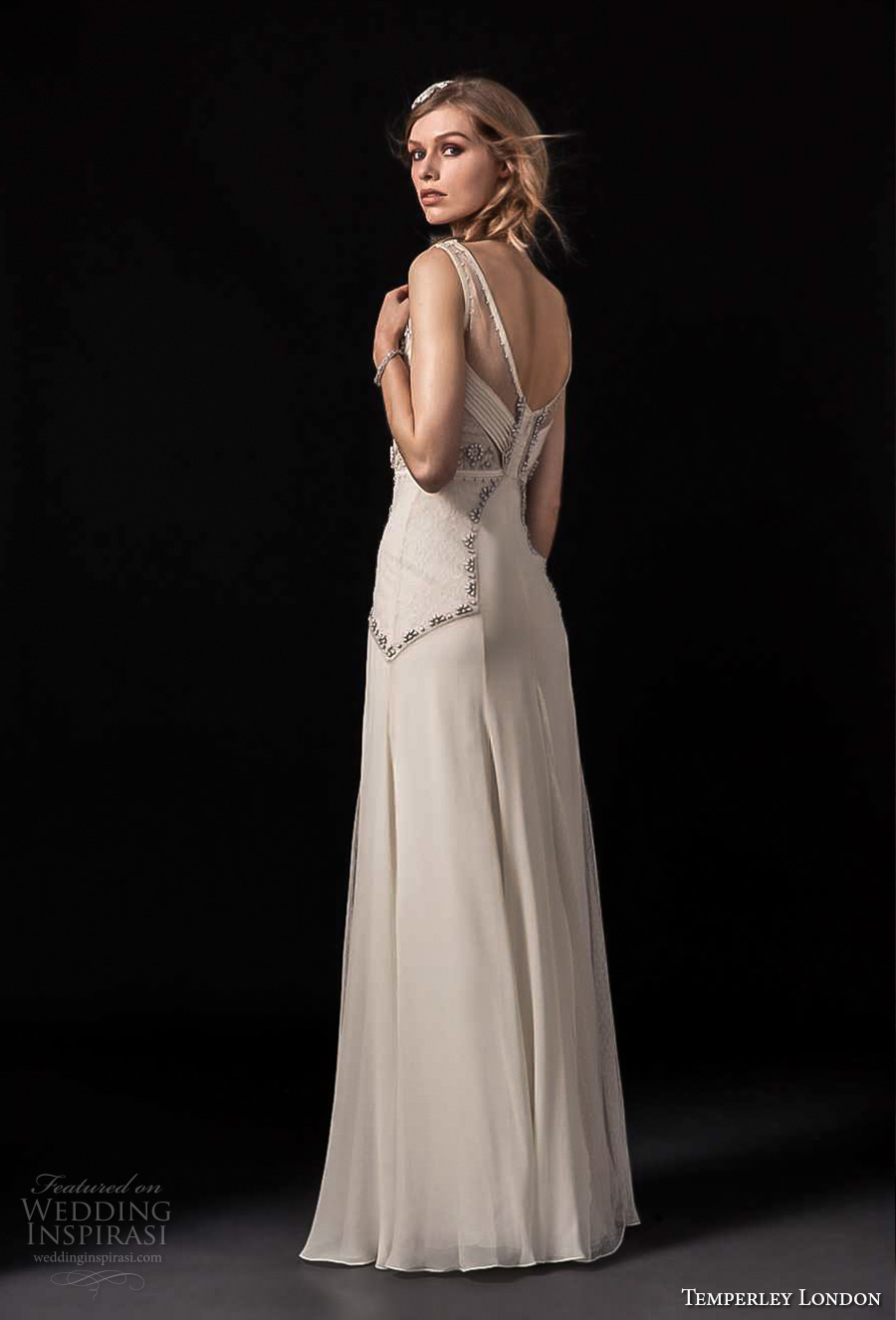 temperley london spring 2018 sleeveless v neck heavily embellished bodice vintage a line wedding dress open back sweep train (regina) bv