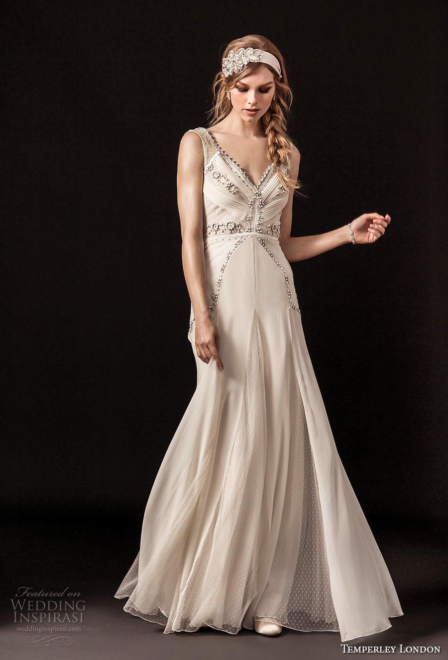 temperley london spring 2018 sleeveless v neck heavily embellished bodice vintage a  line wedding dress open back sweep train (regina) mv