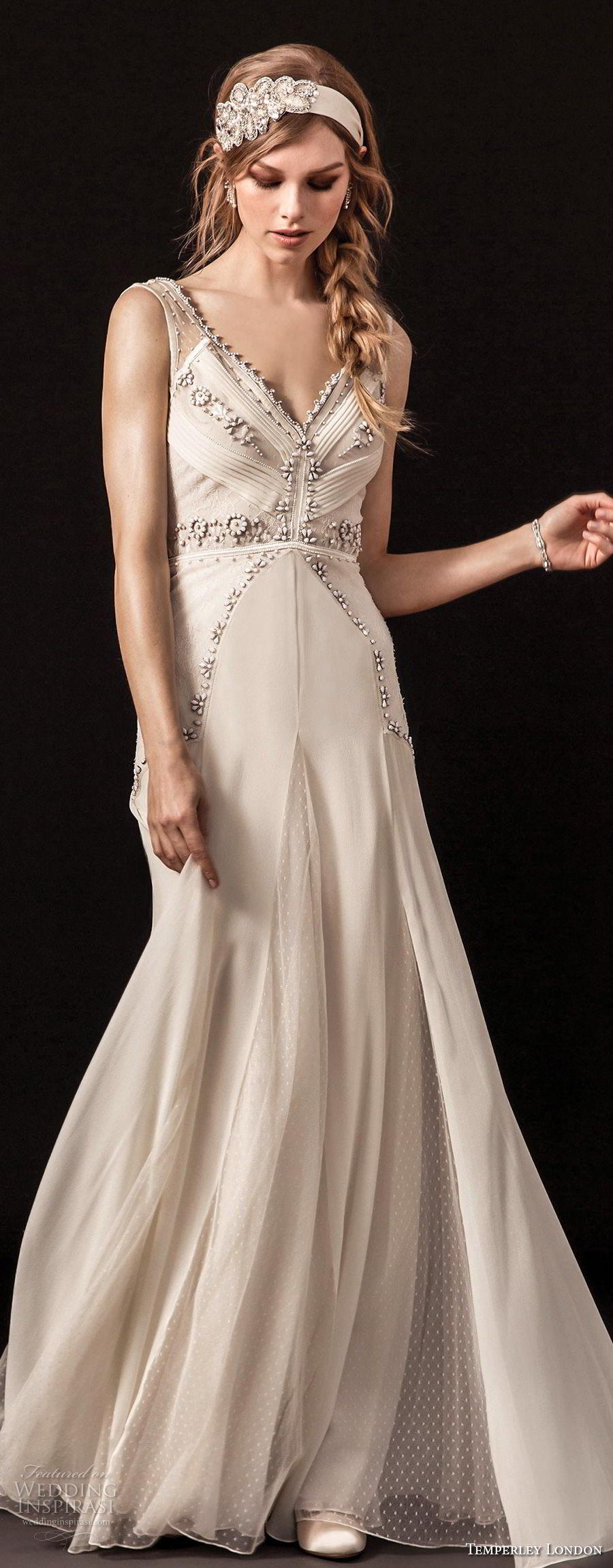 temperley london spring 2018 sleeveless v neck heavily embellished bodice vintage a  line wedding dress open back sweep train (regina) zv