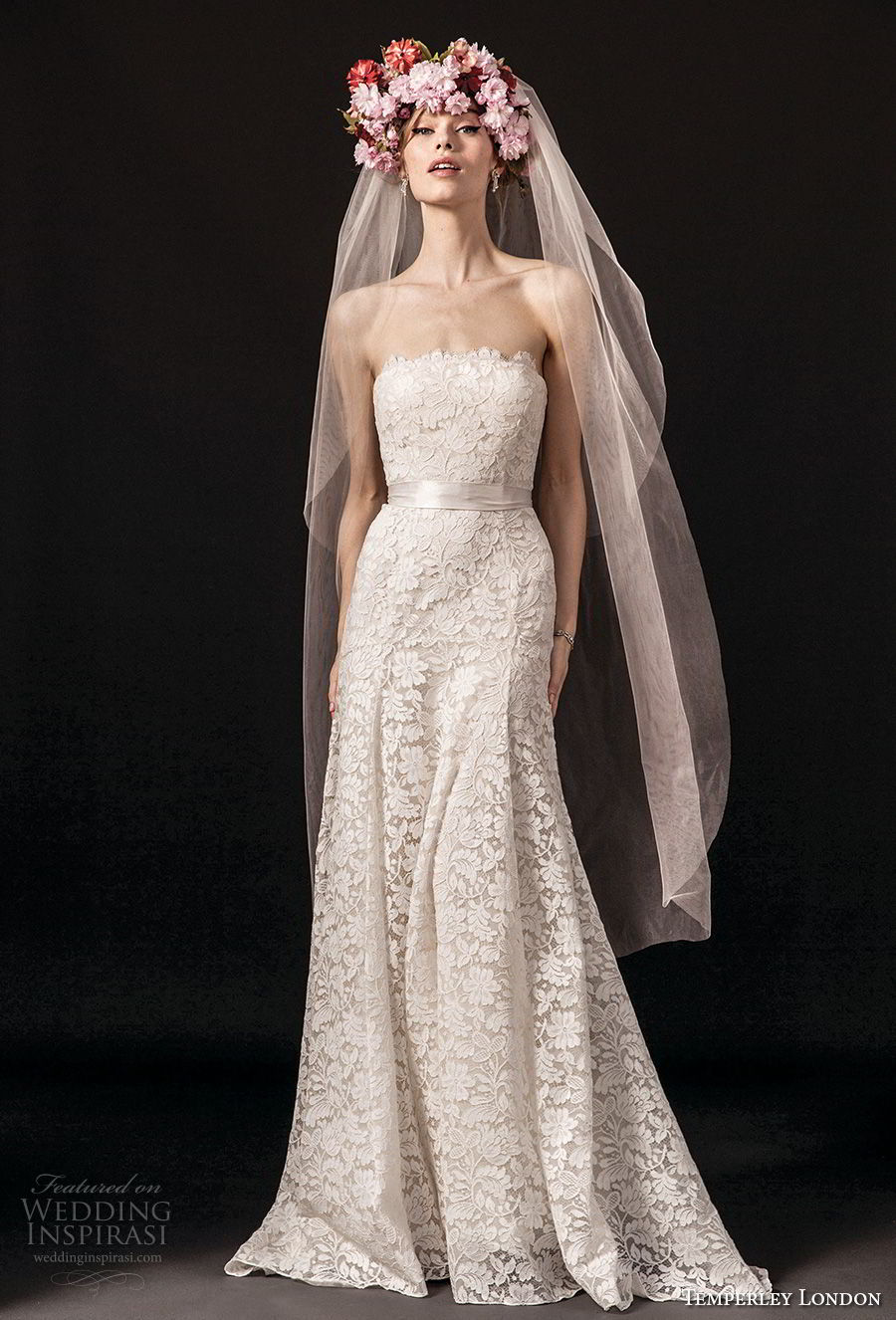 temperley london spring 2018 strapless straight across neckline full embellishment romantic modified a line wedding dress sweep train (josiane) mv