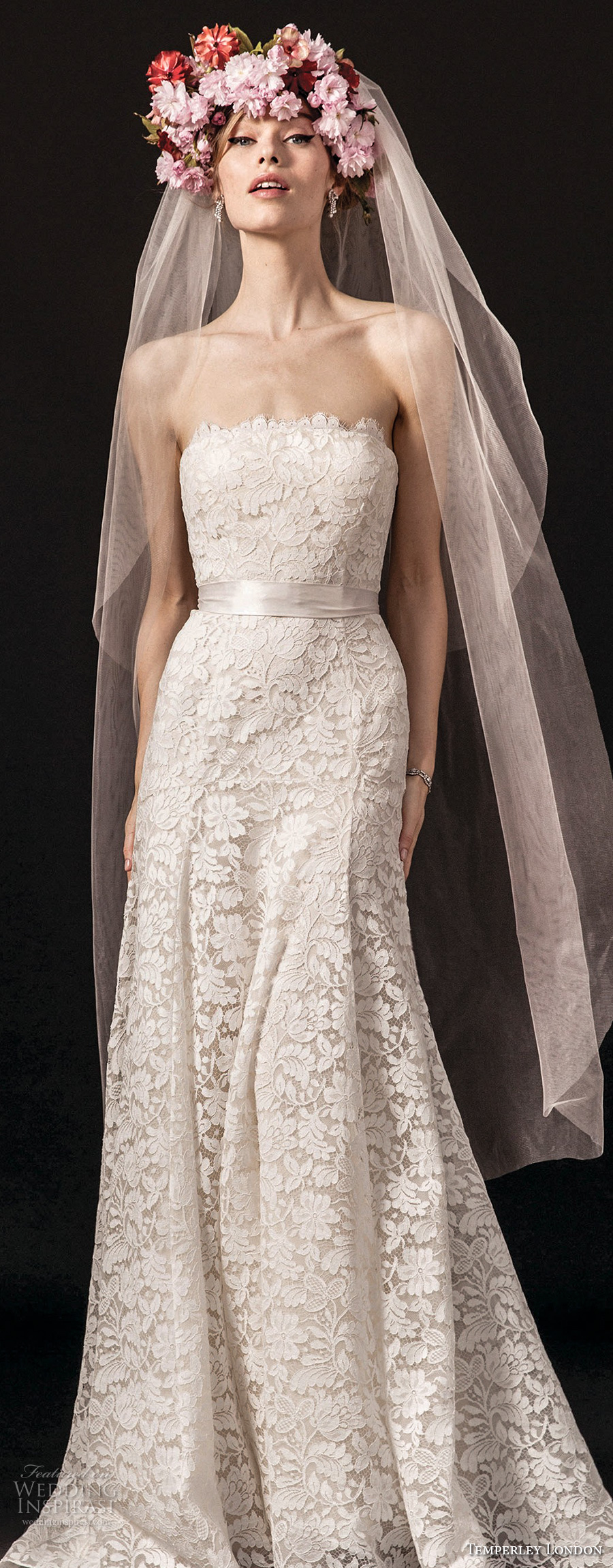 temperley london spring 2018 strapless straight across neckline full embellishment romantic modified a line wedding dress sweep train (josiane) zv