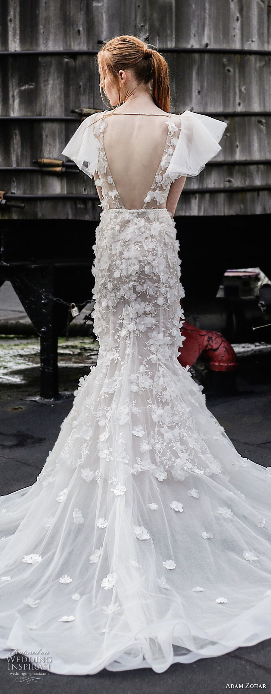 adam zohar 2017 bridal butterfly sleeves illusion bateau deep plunging v neck full embellishment sexy romantic mermaid wedding dress open back chapel train (13) bv