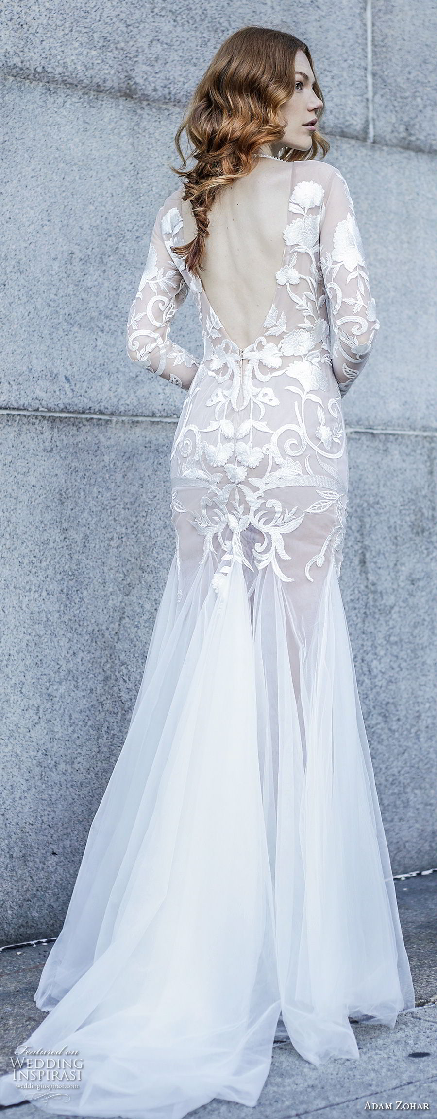 adam zohar 2017 bridal long sleeves illusion jewel neck heavily embellished bodice elegant trumpet wedding dress open v back sweep train (7) bv