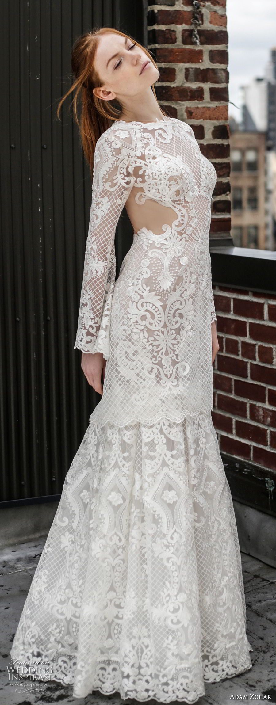 adam zohar 2017 bridal long sleeves jewel neck full embellishment elegant trumpet wedding dress keyhole back sweep train (6) mv