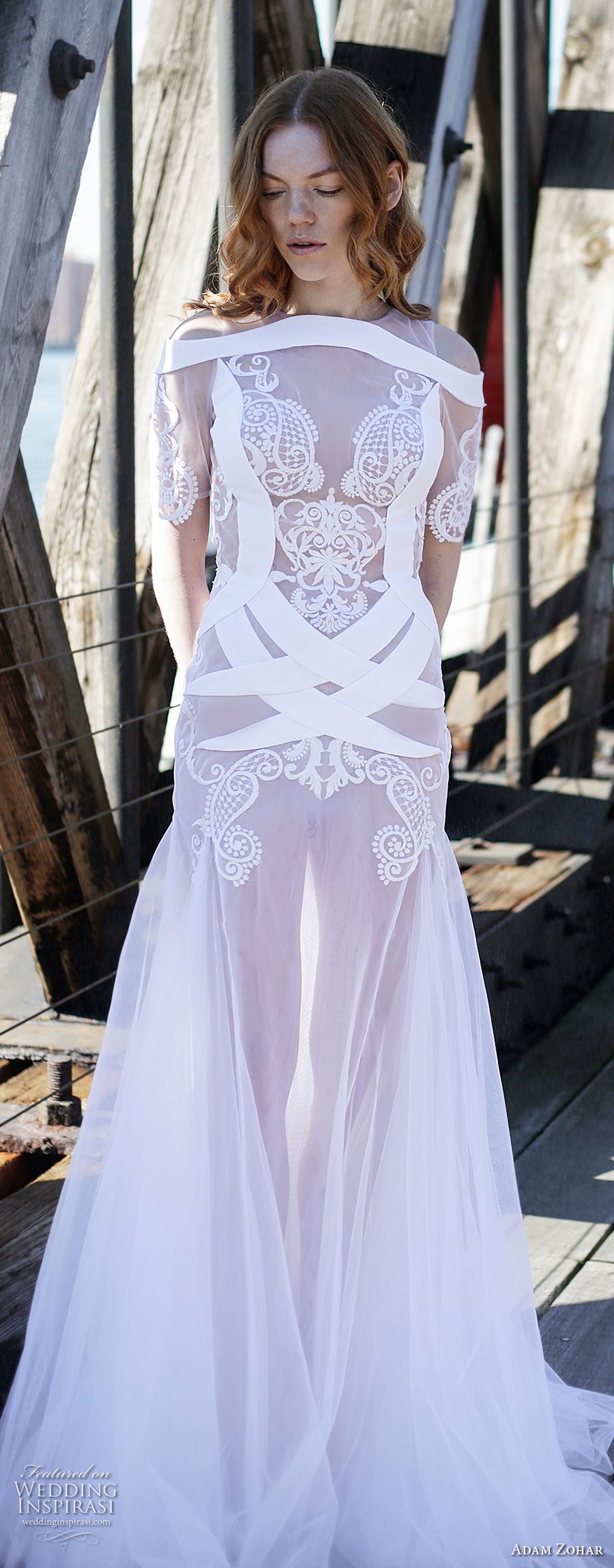 adam zohar 2017 bridal short sleeves sheer jewel sweetheart neckline heavilyembellished drop waist elegant a line wedding dress keyhole back sweep train (11) mv