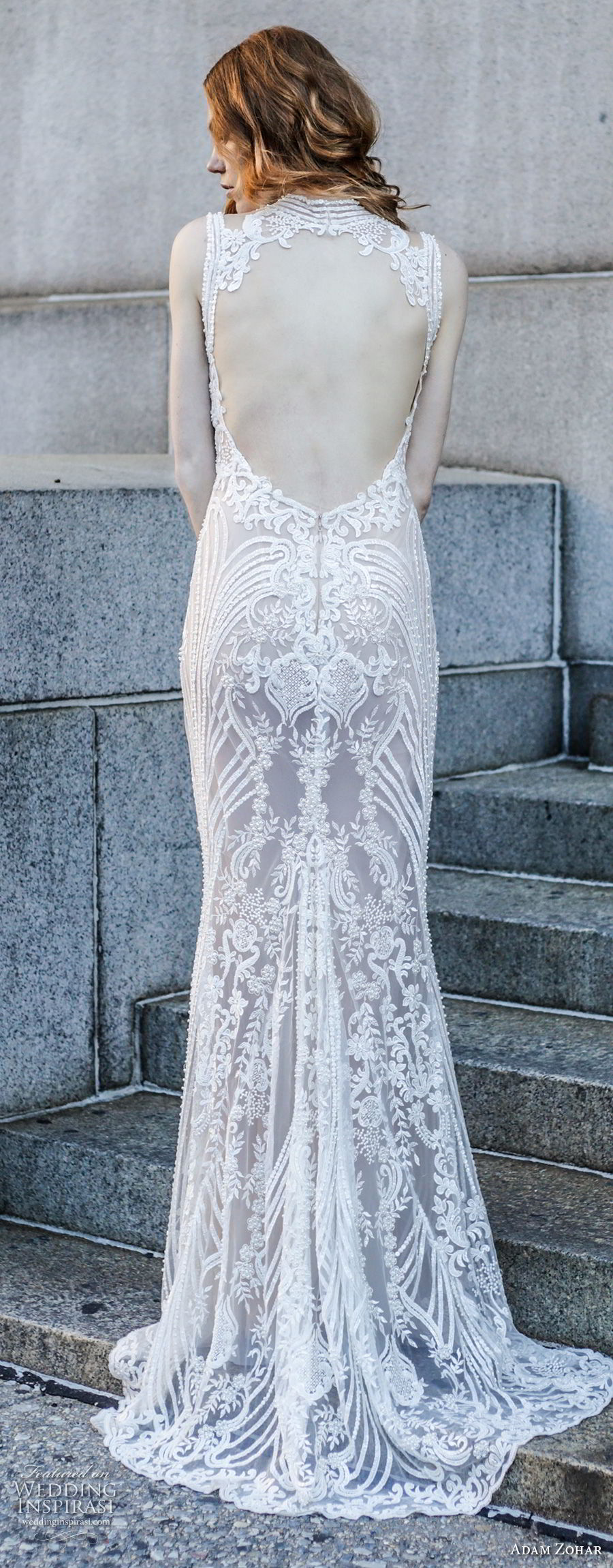adam zohar 2017 bridal sleeveless jewel neck full embellishment elegant sheath wedding dress keyhole back sweep train (3) zbv