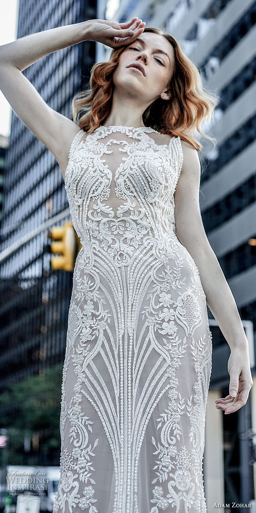 adam zohar 2017 bridal sleeveless jewel neck full embellishment elegant sheath wedding dress keyhole back sweep train (3) zv