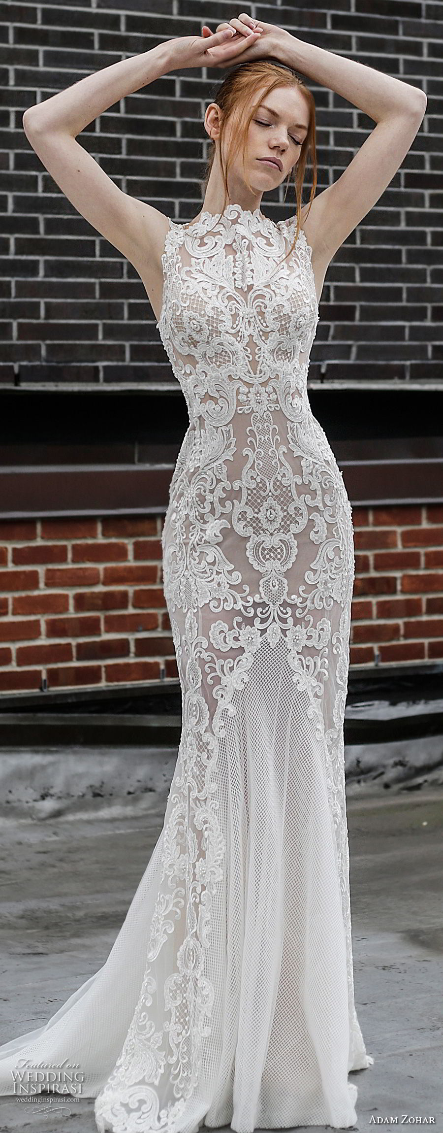 adam zohar 2017 bridal sleeveless jewel neck full embellishment elegant sheath wedding dress open v back sweep train (5) mv