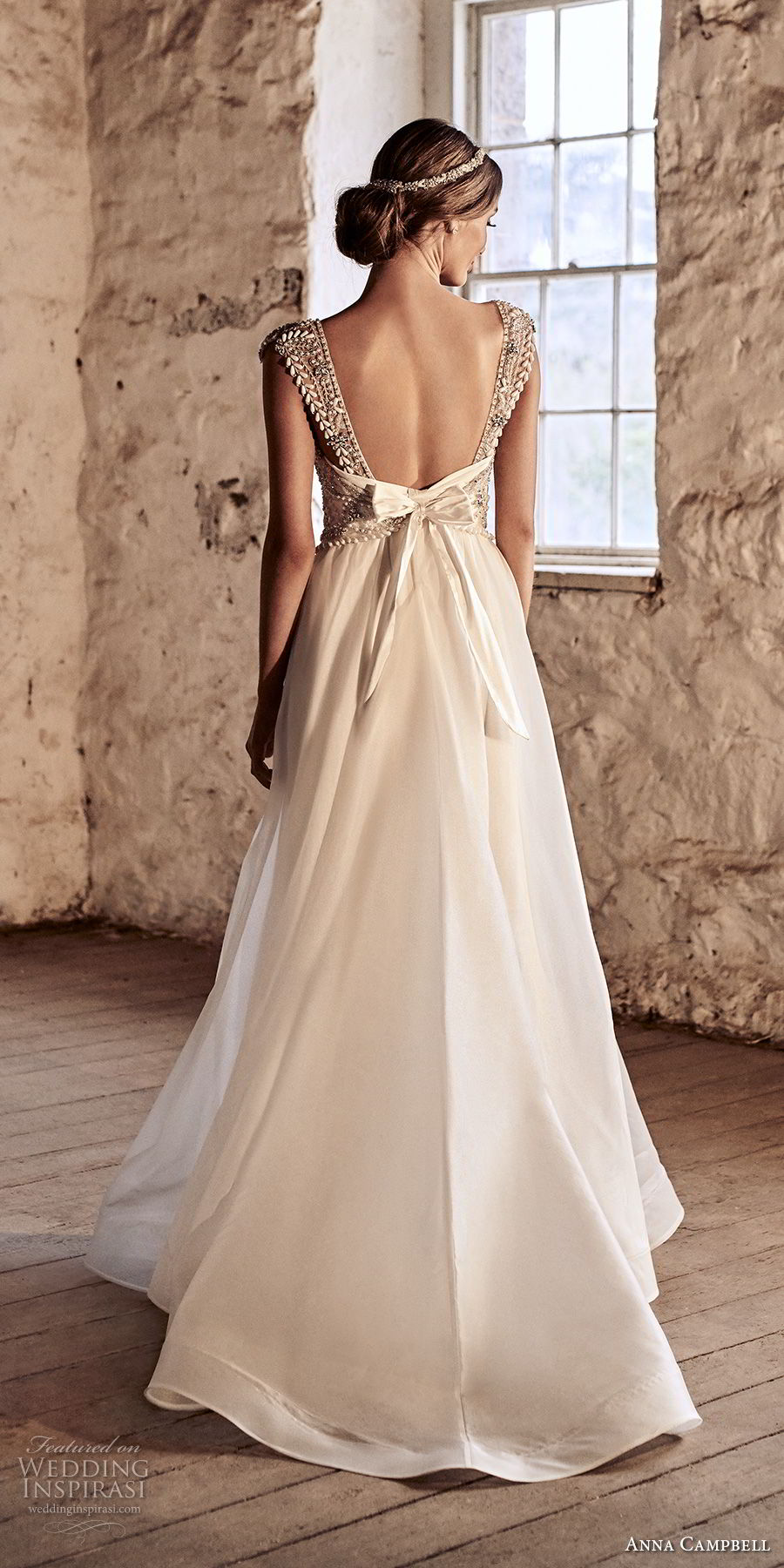 anna campbell 2018 bridal cap sleeves scoop neckline heavily beaded embellished bodice romantic a  line wedding dress open scoop back chapel train (7) bv