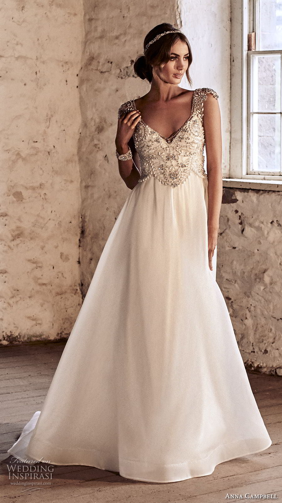 anna campbell 2018 bridal cap sleeves scoop neckline heavily beaded embellished bodice romantic a  line wedding dress open scoop back chapel train (7) mv